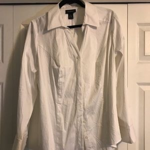 White, collared, button down shirt